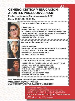 Promoción Conversatorio Género, Crítica y Educación: Apuntes para conversar